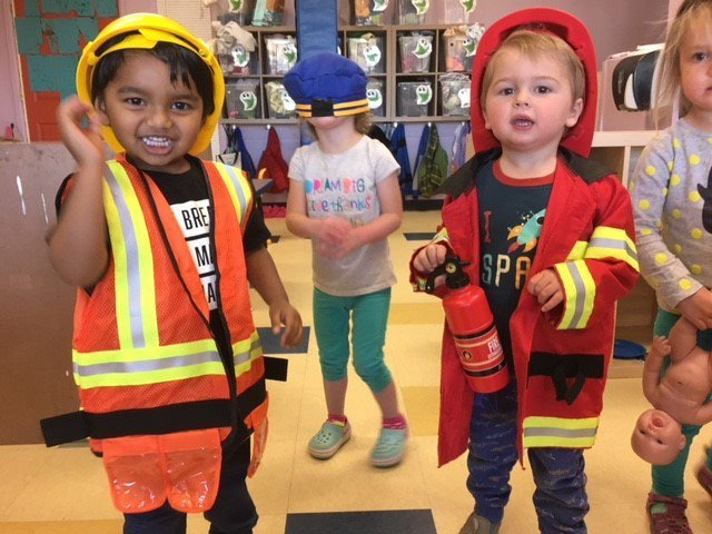 toddlers dressed up in costume at our childcare center