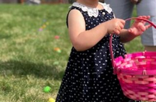 girl with easter egg basket