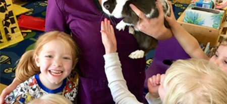 teacher with rabbit and children petting at child care center
